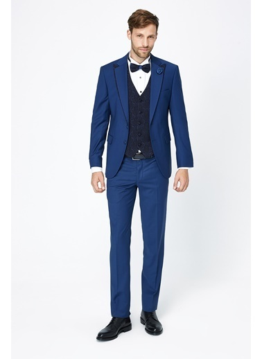 Kiğılı Takım Elbise Mavi